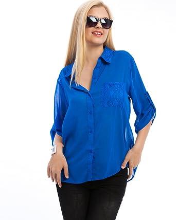 ae1139c13a6 MOD Plus Women's Lace Collar & Pocket Plus Size Shirt Royal Blue 2xl ...