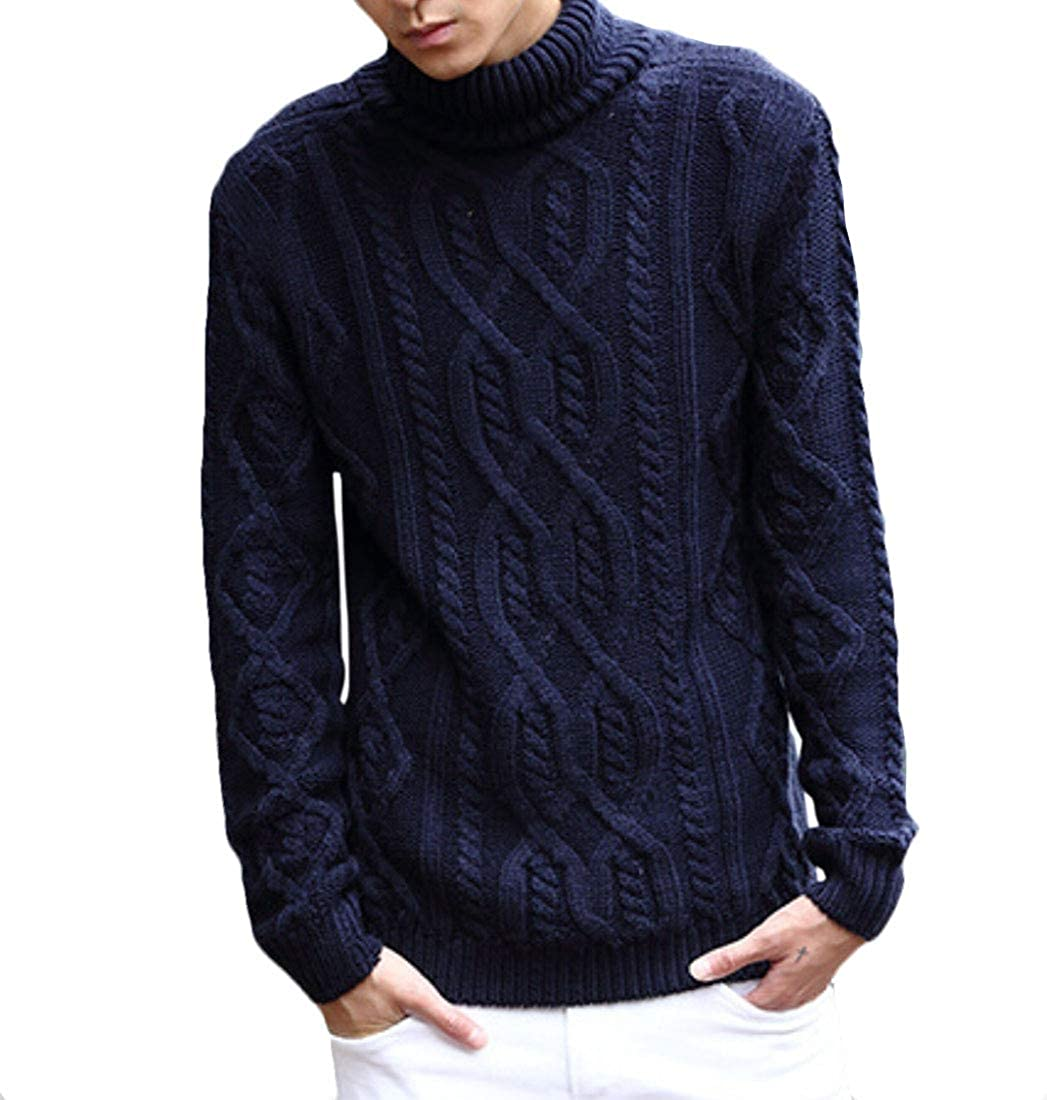 Yayu Mens Slim Fit Turtleneck Sweater Loose Twisted Knitted Pullover Sweaters
