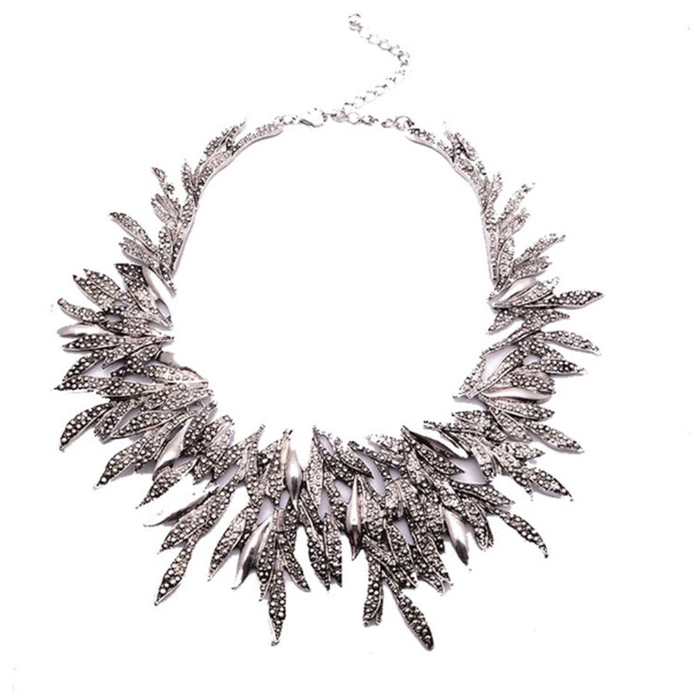 Zthread New Leaf Metal Vintage Big Brand Statement Necklace Women Costume Accessories Necklaces & pendants Maxi Collar Necklace (Silver)