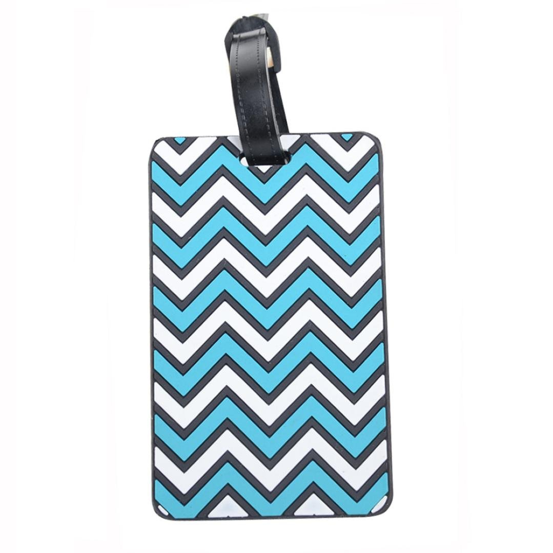 GOTD New Suitcase Luggage Tags ID Address Holder Silicone Identifier Label (Sky Blue)