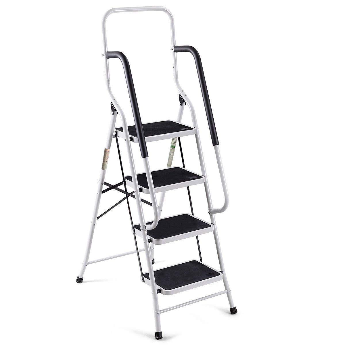 Giantex 2 in 1 Non-Slip Step Ladder Folding Stool w/Handrails and Tool Pouch Caddy (4 Step Ladder) by Giantex (Image #8)