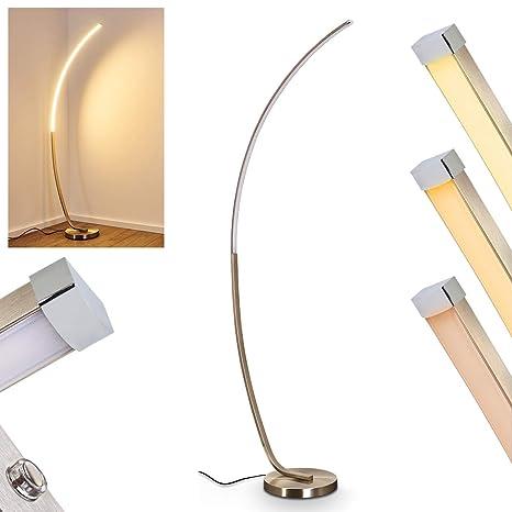 Atenuador lámpara de pie LED Antares de metal níquel mate, lámpara de suelo para salón, dormitorio – Stand lámpara con regulador de nivel Touch ...