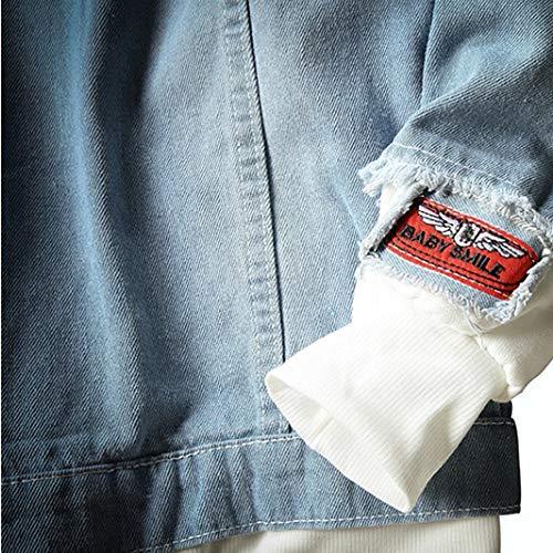 Imprimé Bleu hauts Denim Splicing Longues Chemisier Homme Ihengh Casual Sweat Sweatshirt Mens Manches Tops À Capuche Pull qw0aSpx