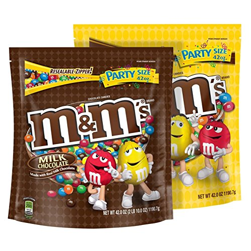 M&M's Plain and Peanut Milk Chocolate Candy Party Size Bags, 42-Ounce Each, 2 Pack by M&M's