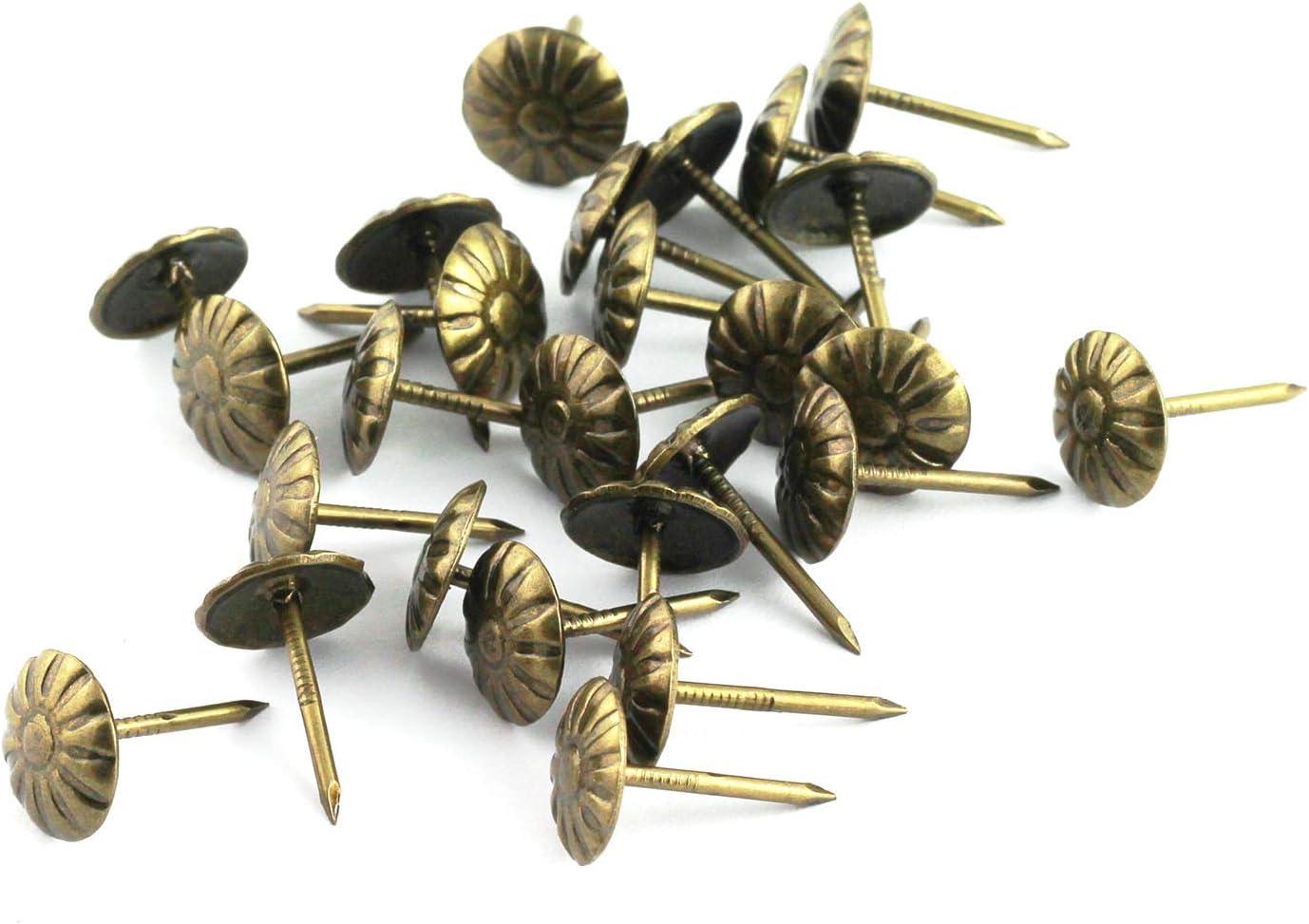 RuiLing 150pcs Upholstery Tacks Stud Elegant Vintage Antique Brass Pushpin Doornail Round Dome Head Furniture Decoration Nails Pins Green Bronze 11x17mm
