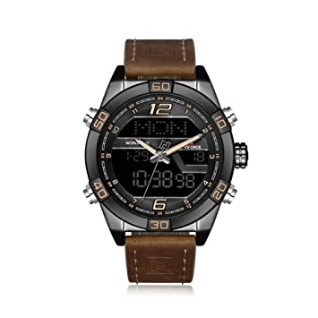 YSCYLY Hombres Relojes Deportivos Militares Relojes De Cuarzo De Cuero para Hombre Cronógrafo Masculino Relojes LED Digitales A Prueba De Agua,BROWNYELLOW: ...