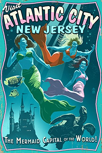 Atlantic City, New Jersey - Mermaids Vintage Sign (12x18 Art Print, Wall Decor Travel Poster) ()