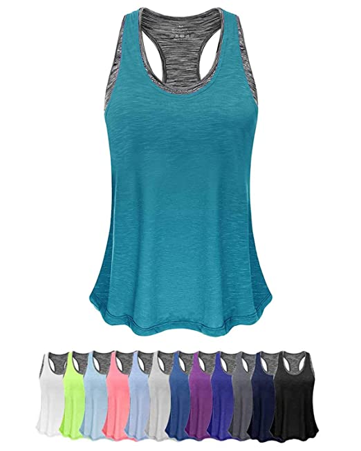 Women Tank Top with Built in Bra, Lightweight Yoga Camisole for Workout Gym Fitness(Turquoise&Gray Bra, S) best women's tank tops