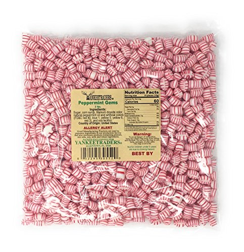 Mini Peppermint Candy - Yankee Traders Peppermint Gem Mini Mint Candy, 2 Pound