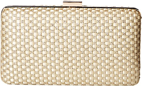 Jessica McClintock Noelle Woven Satin Glitter Evening Clutch Minaudiere, light gold