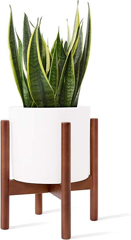 Mid century modern plant stand original design indoor planter made in canada hand made solid wood pot not included.