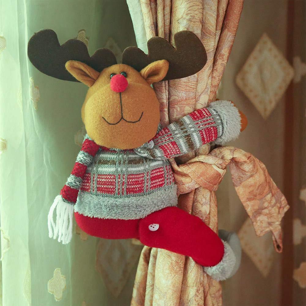 Christmas Curtain Tiebacks Curtain Buckle Holdbacks Curtain Clips Curtain Tie backs Santa Claus Snowman Elk Plush Toy Xmas Window Decoration Gift (Elk) BulzEU