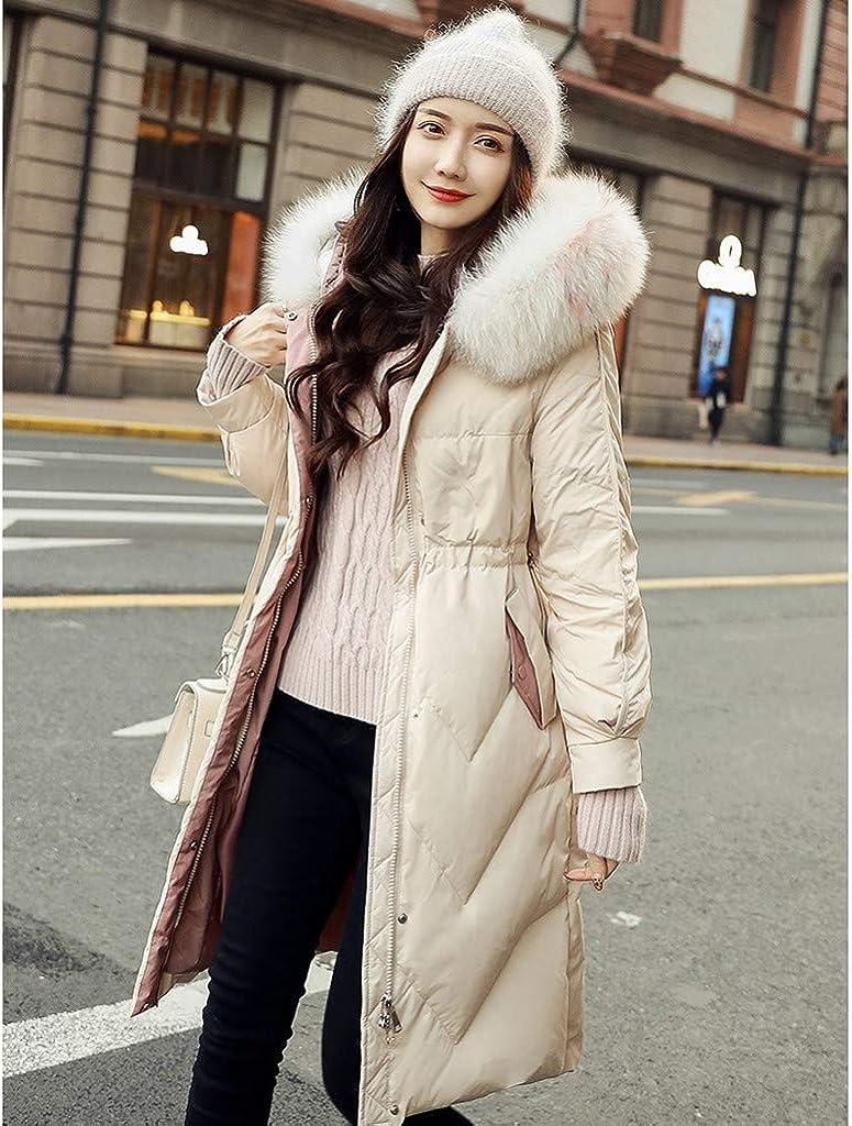 VEZARON Women's Winter Maxi Puffer Long Length Coat Fur Trim Removable Hood Outwear Jacket Overcoat White