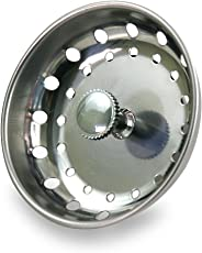 EverFlow 75111 Kitchen Sink Basket Strainer Replacement for Standard Drains (3-1/2 Inch) Chrome Plated Stainless Steel Body With Rubber Stopper