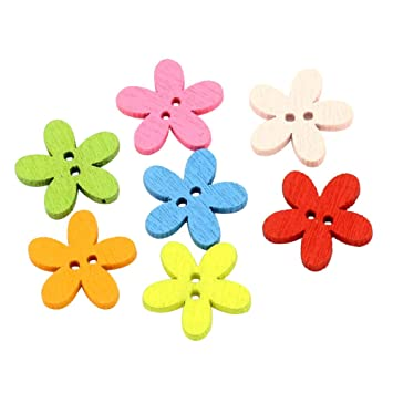 Daliuing 100 pcs Buttons Multicolored Flower Shaped Natural Wooden Buttons Classic 2 Holes 15mm Children Clothes Buttons Assorted Color Buttons for DIY Crafts Knitting Sewing