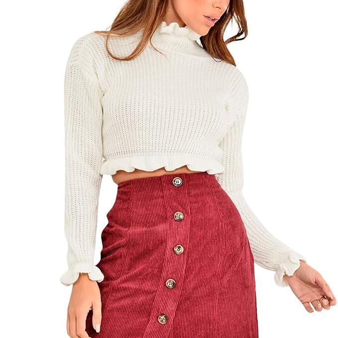Sueters Mujer Manga Larga Jersey Cuello Redondo Sweater Asimétrico Tops  Suéter de Manga Larga Casual para Mujer Jerseys Blusa Tops Sudadera Mujer  Corta ... 16d1c13654fa