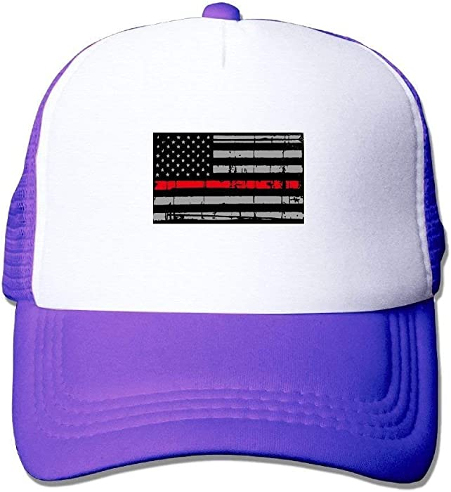 Amazon.com  Thin Red Line American Flag Plain Hat Adjustable Back Mesh Cap  for Boy   Girl  Clothing 7f3d63eb3a3f