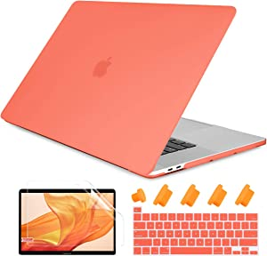 Dongke MacBook Pro 13 inch Case 2019 2018 2017 2016 Release A2159 A1989 A1706 A1708, Frosted Matte Plastic Hard Shell Cover for MacBook Pro 13 with Touch Bar Retina Display Living Coral