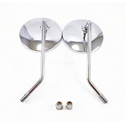 Key-Sun Pair 10mm Chrome Motorcycle Scooter Mirrors For Honda CB 350 450 550 600 650 750 900: Automotive