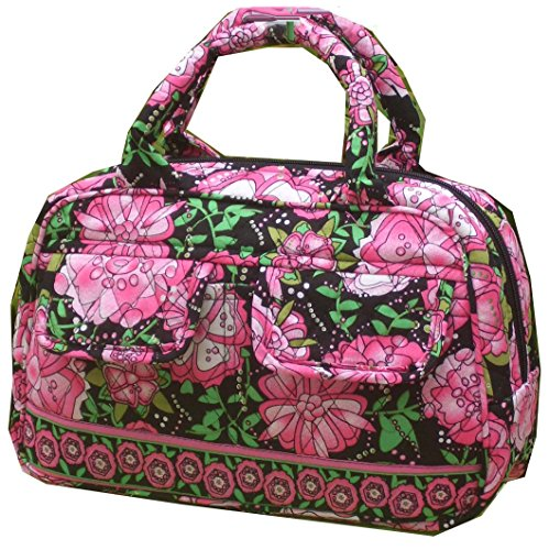 ON SALE Fancy Purse Quiltd Cotton Top Handle Zipper Closure (Floral Pink) (Handbag Top Quilted Zipper)