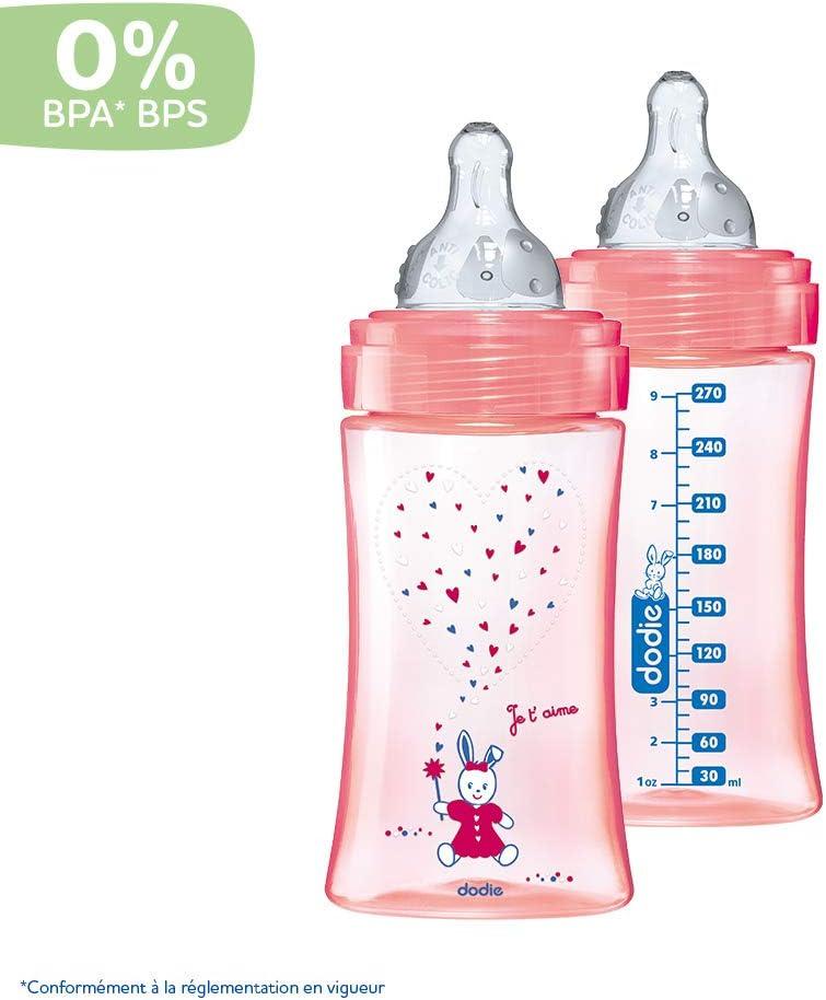 lot de 2 270ml ROSE LICORNE 0-6 mois t/étine ronde d/ébit 2 DODIE biberons anti colique  Initiation