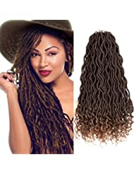 Curly Faux Locs Crochet Hair Deep Wave Braiding Hair With Curly Ends Crochet Goddess Locs Synthetic Braids Hair Extensions (18inch, 1B-30#)