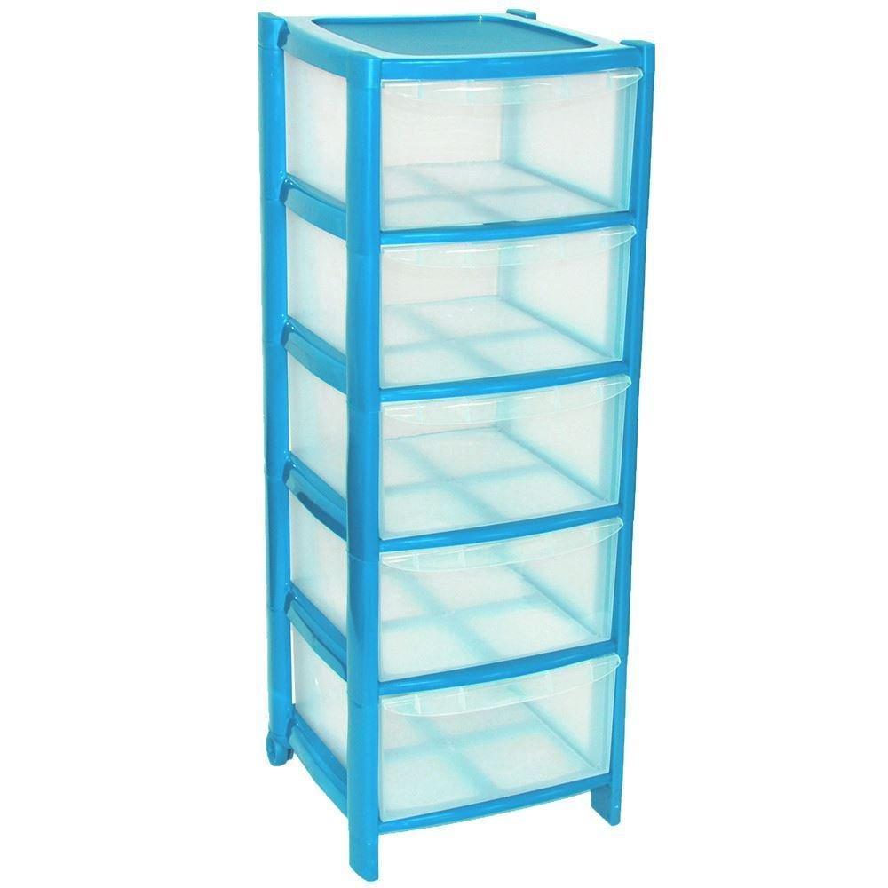 5 Drawer Plastic Storage Unit Blue Viss