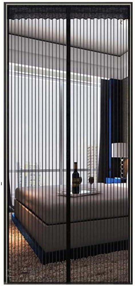Cortina magnética Cortina magnética de poliéster Cortina ultra silenciosa Cifrado Puerta cortafuego Control antiplagas Puerta suave magnética - negro 85x200cm