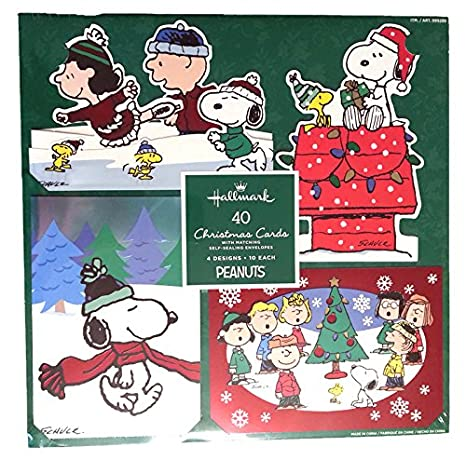 hallmark peanuts traditional christmas cards with foil and glitter accents and matching envelopes 40 count - Costco Christmas Photo Cards