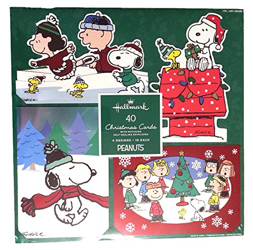 amazoncom hallmark peanuts traditional christmas cards with foil and glitter accents and matching envelopes 40 count office products