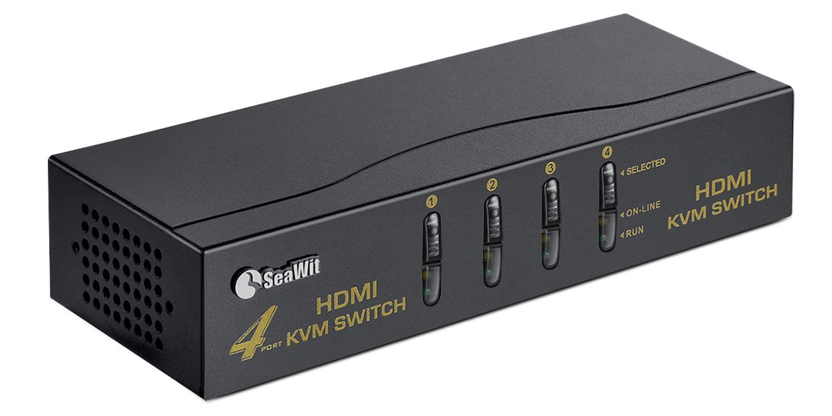Sea Wit HDMI KVM Switch 4 Ports + 4 Sets of HDMI & USB-B Cables + a Mouse Supports 1080P EDID 3D and Auto Scan by Sea Wit