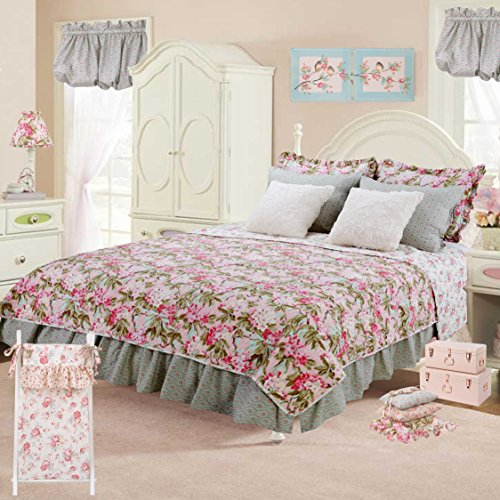 Cotton Tale Designs 100% Cotton Pink Blue Green Garden Floral 10 PC Full/Queen Shabby Chic Quilt Bedding Set, Tea Party