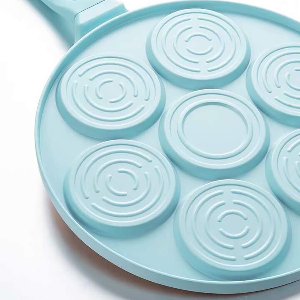 Pancake Mold Pan with 7-Cup Pancake Maker Mini Grill Pan Nonstick Pancake Pan Pancake Griddle with Silicone Spatula,Blue Griddle Pan