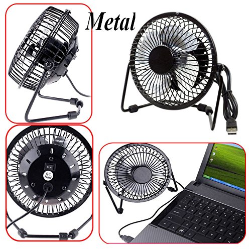 Metal Computer Portable Mini Super Mute PC USB Cooler Cooling Desk Fan blades AA