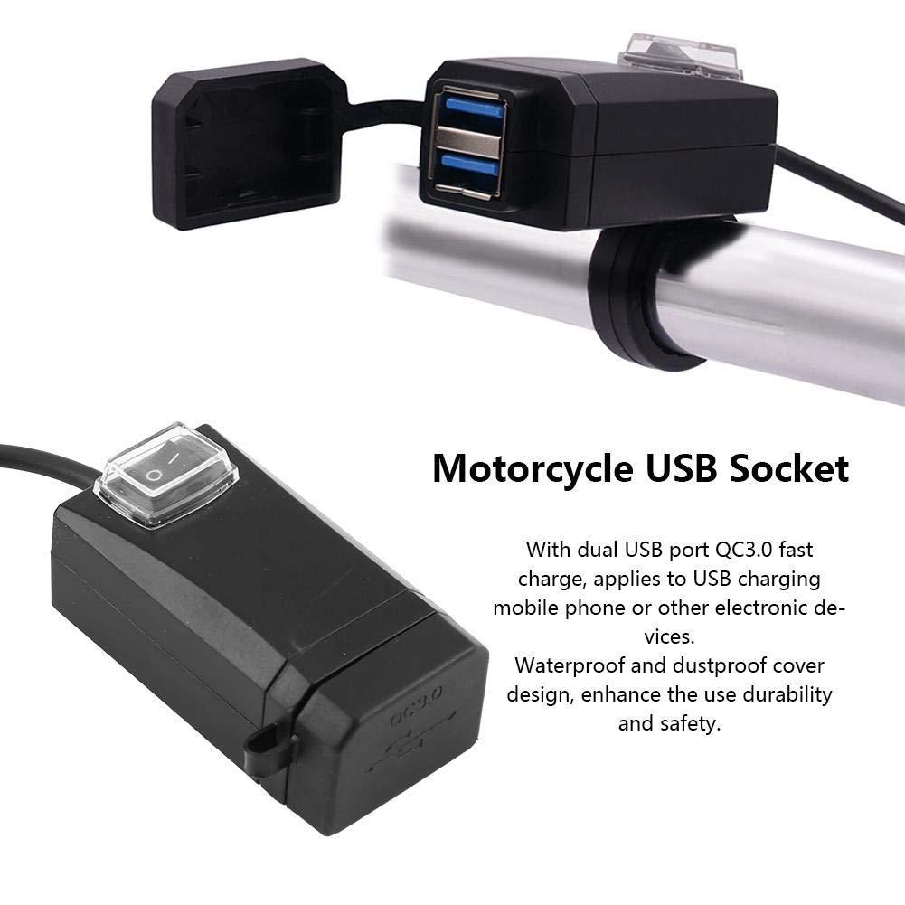 Caricatore Universale per Telefono Cellulare da 12-24V con Doppia Carica USB QC3.0 Rapida Adattatore di Alimentazione per Caricabatterie USB per Moto