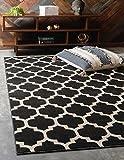 Cheap Unique Loom Trellis Collection Moroccan Lattice Black Home Décor Area Rug (3′ x 5′)