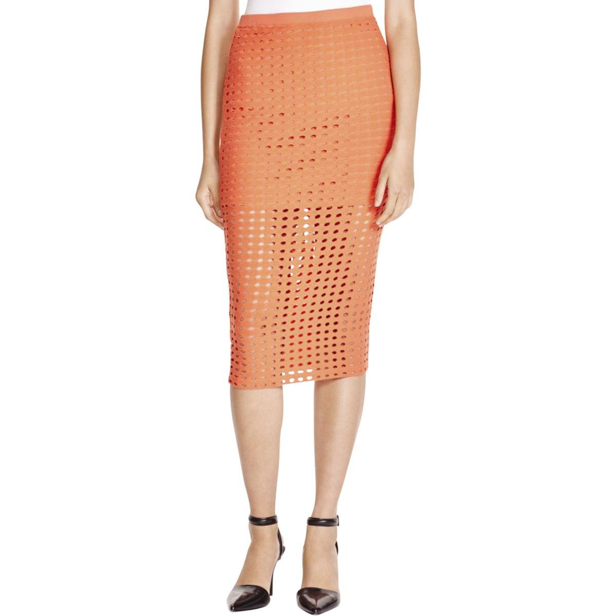 T by Alexander Wang Womens Jersey Cut-Out A-Line Skirt Orange XS