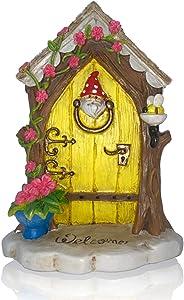 Fairy Door Fairy Garden Accessories, Fairy House Yellow Door for Fairy Garden Kit and Other Fairy Garden Miniatures, Garden Decor for Fairies and Garden Gnome Decor. Lyds Yellow Door with Gnome