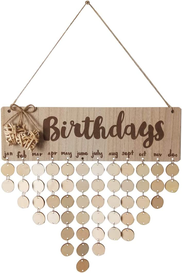 Ivinxy Family Friends Birthday Reminder Calendar Plaque Board Wooden Crafts Wall Door Signwith Heart Decoration
