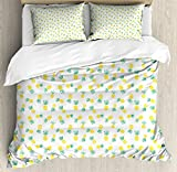 Ambesonne Hawaii King Size Duvet Cover Set by, Doodle Style Pineapple Hand Drawn Exotic Fruits Pattern Stripes and Dots, Decorative 3 Piece Bedding Set with 2 Pillow Shams, Yellow and Sea Green