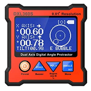 Digital Protractor DXL360S GYRO + GRAVITY 2 in 1 Digital LCD Protractor Inclinometer Dual Axis Level Box 0.01°resolution