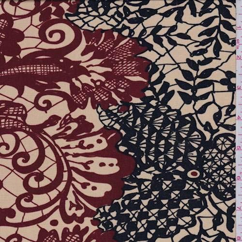 Golden Beige/Black Lace Print Silk Jersey Knit, Fabric by The Yard - Jersey Knit Silk Fabric