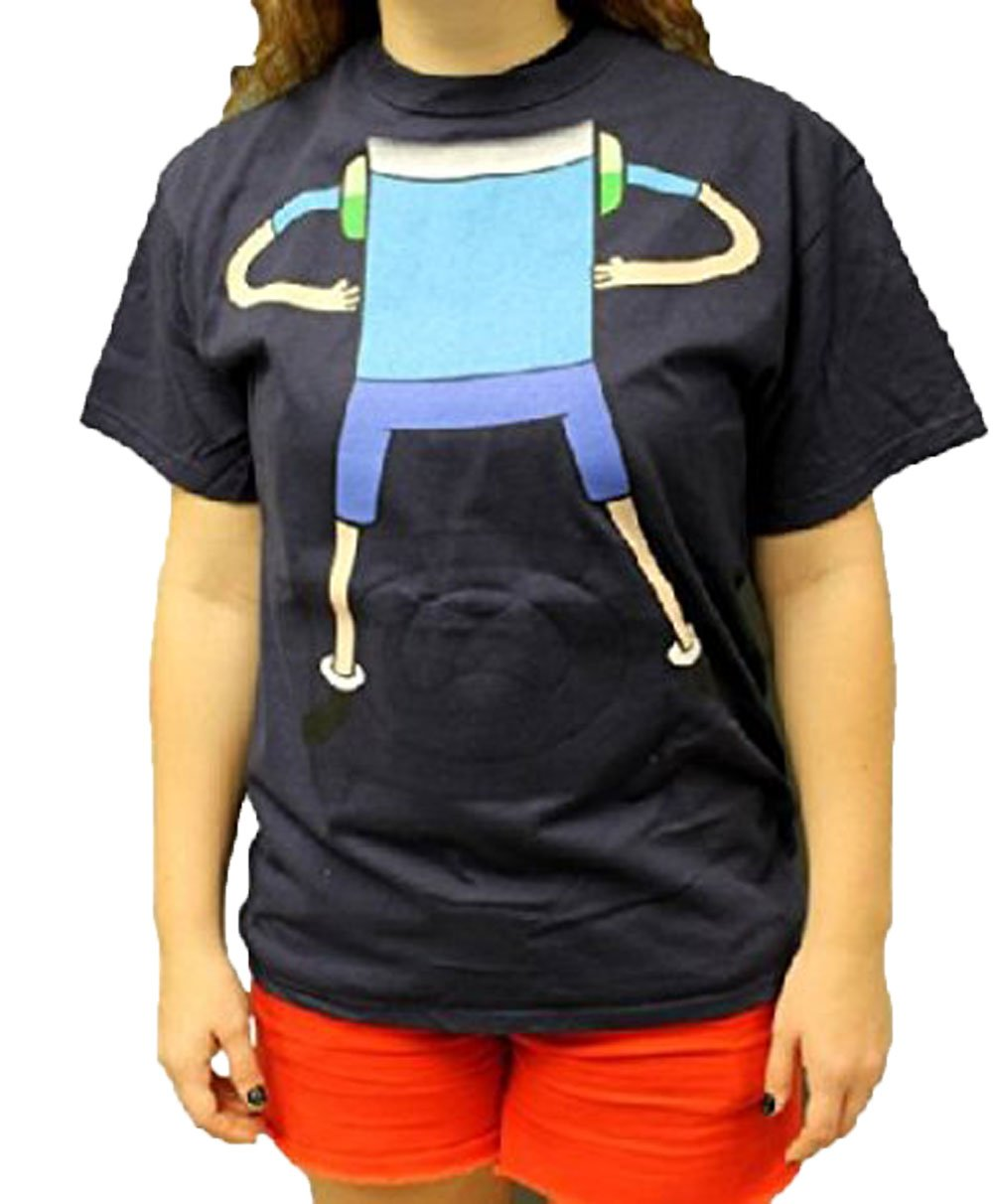 Adventure Time With Finn And Jake Reversible Mask Costume Adult T-Shirt (Large, Navy Blue)
