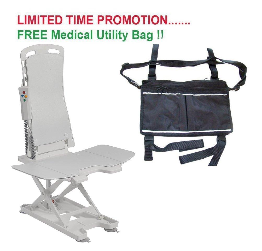 Drive Bellavita Tub Chair Seat Auto Bath Lift, White & FREE Medical Utility Bag Black! - #477200252