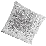 Decorative Pillow Cover - Stylish Comfy Solid Color Sequins Cushion Cover Throw Pillow Case Cafe Decor (Silver-1)