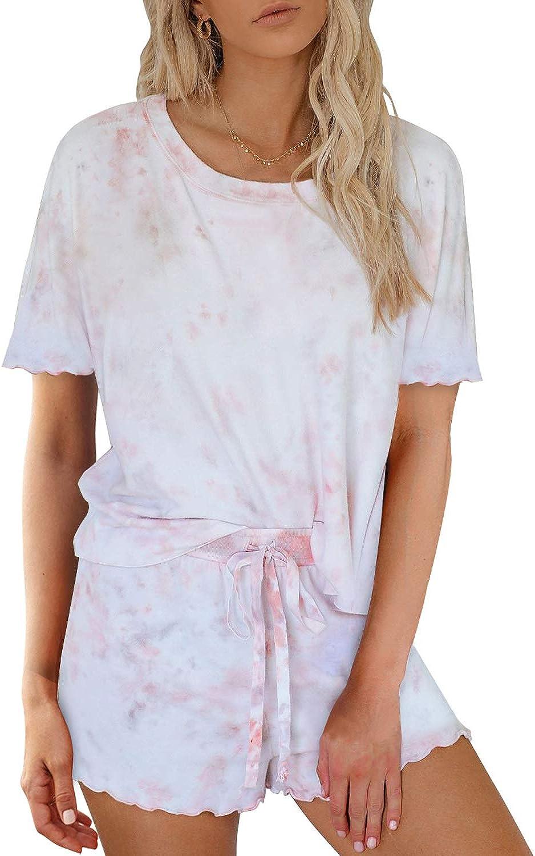 Mosucoirl - Conjunto de pijama para mujer, 2 piezas, estampado de teñido, sin mangas, con botones, con pantalones cortos, ropa de dormir