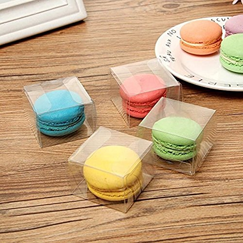 RomanticBaking 100pcs Clear Food Grade Single Macaron Box 5cm x 5cm x 3.5cm Treats Boxes for Wedding maceron/Baby Shower/Party Favors, Dessert, Candy, Cookies (100, Transparent Clear) from RomanticBaking