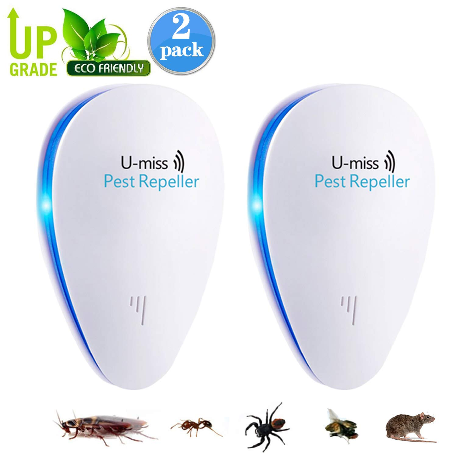 U-MISS Ultrasonic Pest Mosquito Repellent Plug Control EverPest - Professional Home (2 Pack) Electronic Indoor Repeller - Repels Away Fleas, Bugs, Rodents, Roaches, Mice, Insect, Ants, Spiders, Rats