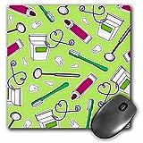 3dRose LLC 8 x 8 x 0.25 Inches Mouse Pad, Cute Dentist Dental Hygienist Print Green (mp_165820_1)