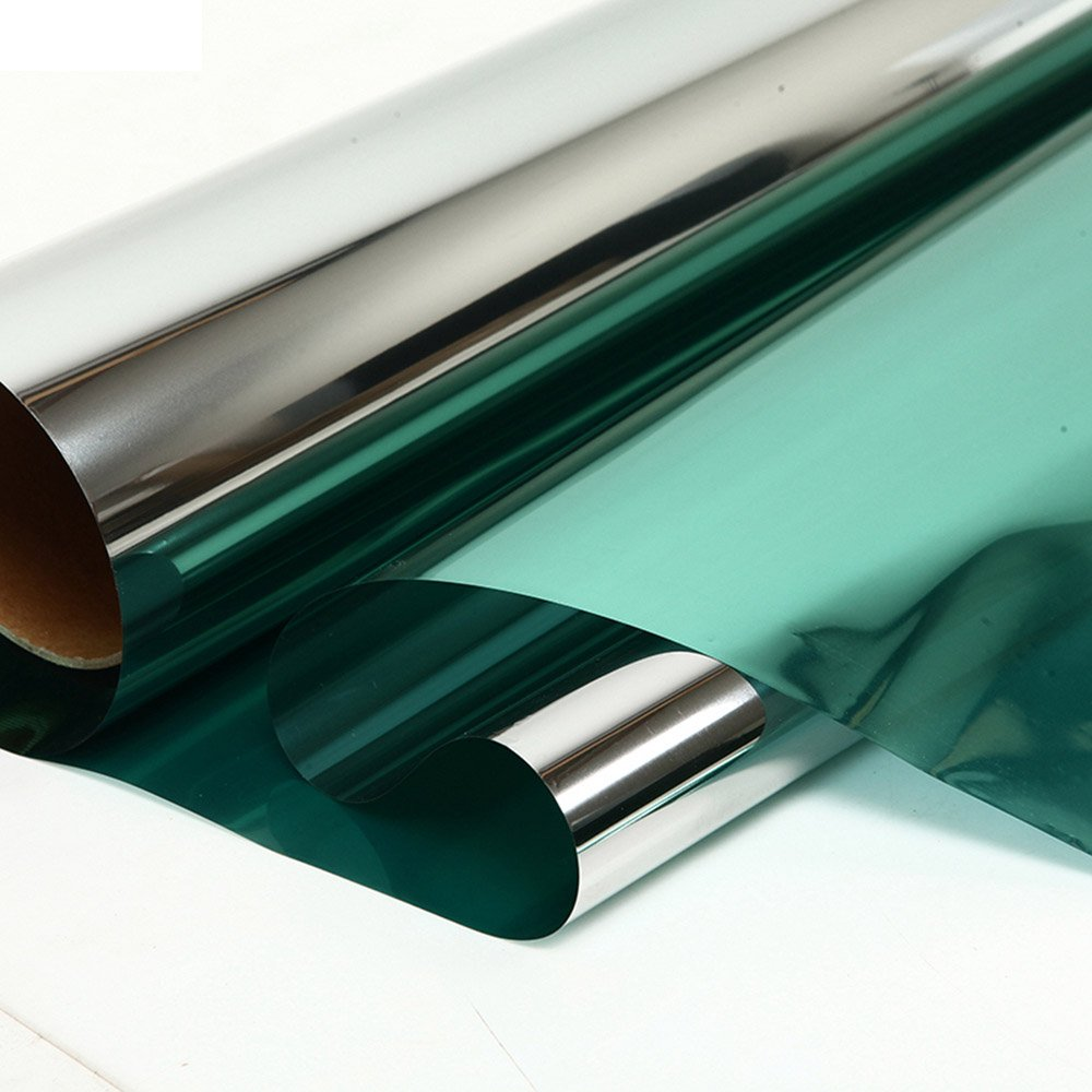 HOHO Green Silver Mirror Reflective Privacy Tint Building Window Film Solar Film,60''x98ft